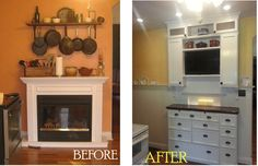 A free standing electric fireplace temporarily filled space on a wall, with pots and pans hanging above it. It was replaced with a custom built in, high wainscoting, built in cutting boards, a hidden cubby behind a hidden door and amazing storage space with custom drawers, including one for wrapping paper and supplies.
