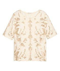 Short sleeved embroidered top| H&M Pastels