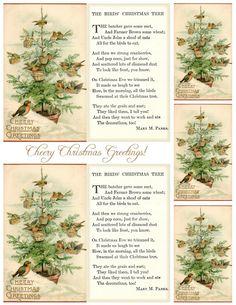 """The Birds' Christmas Tree"" ~ foldable 3x5"" cards, tags"
