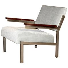 Mid-Century Dutch Design Lounge Chair with Rosewood Armrests | From a unique collection of antique and modern lounge chairs at https://www.1stdibs.com/furniture/seating/lounge-chairs/