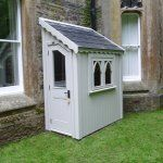 Gothic half shed finished in Farrow & Ball Stoney Ground Backyard Storage Sheds, Garden Storage Shed, Posh Sheds, Building A Shed, Back Gardens, Interior Design Inspiration, Luxury Homes, New Homes, Cottage
