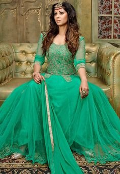 Looking for elegant Net Abaya Style Suits? Check out our elaborate range of colorful Net Abaya Style Suits created by India's finest craftsmen. Green Suit, Teal Green, American Dress, Bollywood Outfits, Abaya Style, Light Teal, Abaya Fashion, Celebrity Look, Bollywood Celebrities