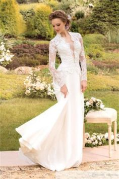 New-2015-Long-Sleeve-Applique-Lace-White-Wedding-Dress-V-Neck-Simple-Bridal-Gown