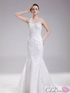 Gorgeous A-Line Scoop Satin and Lace Chapel Train Wedding Dress