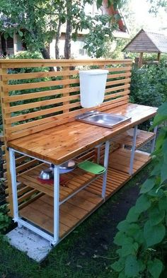 📌 39 outdoor space decor ideas, how to choose furniture for your outdoor space 28 Outdoor Sinks, Outdoor Kitchen Design, Outdoor Projects, Home Projects, Outdoor Spaces, Outdoor Living, Garden Sink, Summer Kitchen, Wooden Pallets