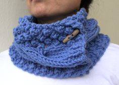 Royal Blue Hand Knit Scarf Cable Chunky Cowl Neck by warmandsoft