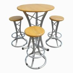 Custom Hand Crafted Aluminum and Hardwood Dining / Pub Table.- Custom Hand Crafted Aluminum and Hardwood Dining / Pub Table & Stools – 4 Pc. Set Custom Hand Crafted Aluminum and Hardwood Dining / Pub Table & Stools – 4 Pc.