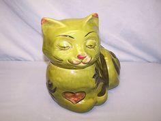 """Los Angeles potteries """"Cat"""" cookie jar - green"""