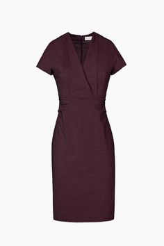 Shop the Emma dress, now in blackberry! With a V neckline and a knee length hemline, this is a perfect office-to-cocktails dress.