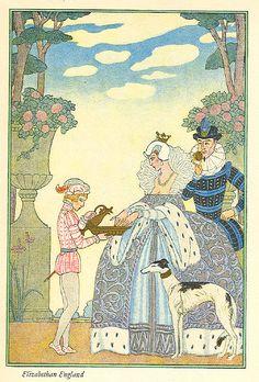 Elizabethan England, from 'The Art of Perfume', Pub. 1912 (Pochoir Print) by Georges Barbier Metal Prints Metal Print - 30 x 41 cm Art Deco Illustration, Book Illustrations, Moda Art Deco, Beaux Arts Paris, Painting Prints, Art Prints, Stencil Painting, Art Deco Stil, Inspiration Art
