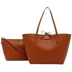 Guess Bobbi Bag-in-Bag Inside Out Tote ($98) ❤ liked on Polyvore featuring bags, handbags, tote bags, cognac multi, brown tote purse, cognac handbag, tote bag purse, guess purses and brown purse
