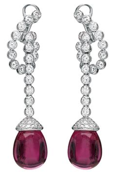Chaumet Classics earrings in white gold with diamonds and pear shaped pink tourmalines
