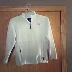 North Face White Fleece North Face White Fleece Jacket. Jacket has grey trimming, two zip pockets & no hood. It's a  Kid's Large. North Face Jackets & Coats