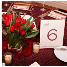 Table Numbers Red Font on White Background