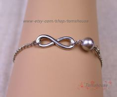 Infinity bracelet  bridesmaid gift infinity pearl by tomshouse, $1.99
