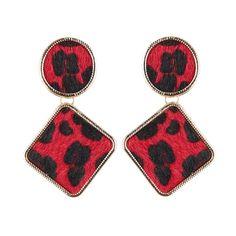 6a698e534351 Aretes de moda circulo y rombo borde brillante fondo animal print rojo  🔱  Aretes.
