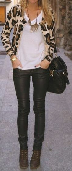 "Leopard cardigan and leather pants.. This screams "" mommy needs a night out!"""