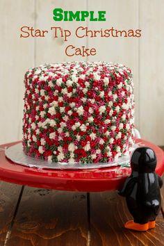 Easy Star Tip Christmas Cake Decorating Idea - Holly Jolly Christmas #easy #cake