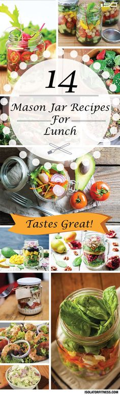 14 Mason Jar Lunch Recipes. Delicious, healthy mason jar salads and lunches for meal prep.