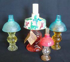 Four Vintage Kerosine Lantern Perfume Bottles Lander Avon #LanderAvon