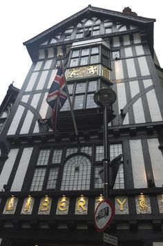 Liberty of London has a long legacy in London– founded in 1875, the department store has been located in this distinct Tudor storefront on Regent Street since 1920.