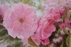 """Купить картина маслом """"Миндаль"""" - цветы, весна, розовый, картина в подарок, лепестки, миндаль, реализм"""