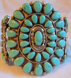 Navajo Turquoise Bracelet - HUGE and Stunning Cuff Bangle Cluster - Fathers Day - Native American Vintage Handmade 7.5 Unisex SALE via Etsy