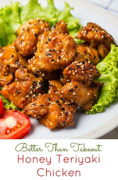 Honey Teriyaki Chicken  I love Chinese takeout, who doesn't?  What I don't love is the extra salt calories and saturated fats that come along with it.  This recipe has all the flavor of your favorite Chinese takeaway, but made with fresh clean ingredients so you can indulge guilt free.  And the best part, its kid approved!