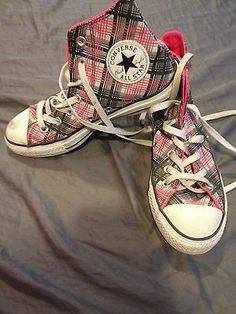 Pink Black Plaid Converse All Star High Tops