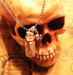 Pirate Treasure Map within a Glass Vial Necklace. The map inside can be personalized, up to 5 words written on it.  'Tis a beauty! Pirates!