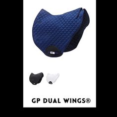 HRP® GP Dual WINGS®. Scientifically tested HRP® Pressure Reducing WING® Saddle Pads exert NO pressure behind the saddle over the lumbar spinous processes during trot & canter & significantly less mean pressure in all gaits when compared to a conventional saddle pad.  Order online: www.hrpequestrian.com  Made in the UK 🇬🇧