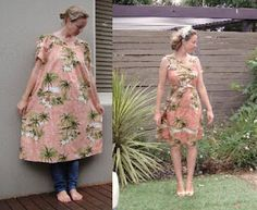 My own refashion, muumuu to fitted dress, using mens neckties for green ribbon and reversible sash belt