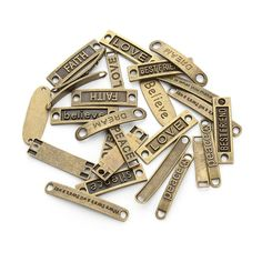 JEWELLERY MAKING SUPPLIES    ON SALE NOW   BULK    20 Antique Bronze Emotive Mixed Connectors    FREE DELIVERY