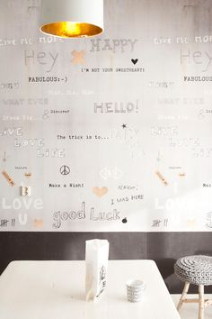 supercool wallpaper with concrete look and lovely words by onszelf...