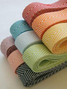 Chevron Twill Herringbone Ribbon - Orange and White 3/4 Inch Width - Packaging and Gift Ribbon. $4.45, via Etsy.