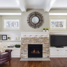 Traditional Family Room rock fireplace built in cabinets Design Ideas, Pictures, Remodel and Decor Fireplace Shelves, Fireplace Built Ins, Home Fireplace, Fireplace Remodel, Living Room With Fireplace, Fireplace Surrounds, Fireplace Design, Fireplace Ideas, Fireplace Windows