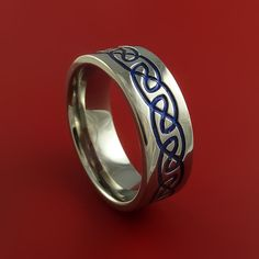 Titanium Celtic Knot Womens Band Design Any Size Ring 3 to 22 Blue, Red, Green Inlay