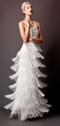 1920's flapper inspired wedding gown. Errico Maria 2013 Bridal Collection.