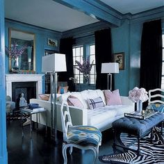 Beautiful blue living room.