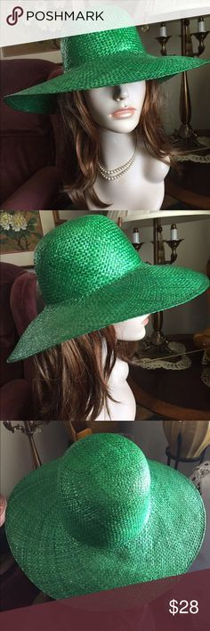 """Vintage Green Straw Molded Sun Hat Fabulous vintage and awesome color of Green Straw Molded Sun Hat! Made in the People's Republic of China. Inside circumference 22-1/2; crown height 5""""; brim 4-1/2"""". Please measure your head circumference before ordering. The mannequin is a display model only and not reflective of how a hat will fit or look on your head. Smoke-free. In great preowned condition. Vintage Accessories Hats"""