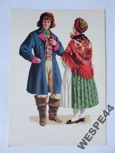 KASZUBY STROJ KASZUBSKI MARIA ORLOWSKA 16302 Folk Costume, Costumes, Polish Folk Art, Traditional Outfits, Poland, Mario, Arts And Crafts, Culture, Illustration