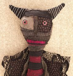 Plush Monster Primitive Art Doll  Lamont by VagabondCafe on Etsy, $68.00