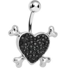 Black Gem Paved Heart and Crossbones Belly Ring