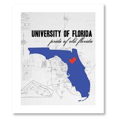 Florida Gator map print