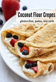 These Coconut Flour Crepes are gluten-free and paleo. Add your favorite fillings These Coconut Flour Crepes are gluten-free and paleo. Add your favorite fillings like whipped (coconut) cream and berries for a wholesome treat. Source by leelalicious Low Carb Paleo, Low Carb Recipes, Cooking Recipes, Paleo Diet, Coconut Flour Recipes Low Carb, 7 Keto, Vegetarian Low Carb Meals, Tapioca Flour Recipes, Pasta Recipes
