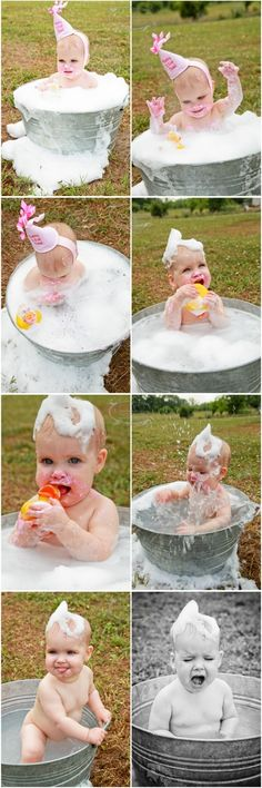 "Cleaning up and still shooting First Birthday sessions = PRICELESS! BraskaJennea Photography's ""First Birthday Cake Smash with A Splish Splash"""