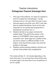 For Algebra Pythagorean Theorem Activity