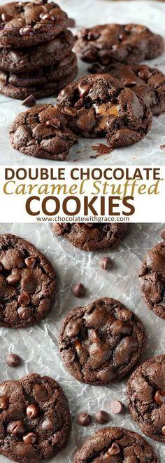 Caramel Stuffed Double Chocolate Chip Cookies - Chocolate With Grace - Chocolate Recipes Cookie Desserts, Easy Desserts, Delicious Desserts, Dessert Recipes, Yummy Food, Cookie Tray, Health Desserts, Cookies Receta, Yummy Cookies