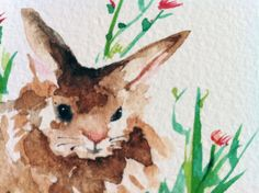 Easter Bunny Painting Spring Decor Mini by MarilynKJonas on Etsy, $10.00