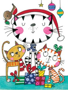 Rachel Ellen christmas card – cats Source by I Love Cats, Crazy Cats, Cute Cats, Christmas Animals, Christmas Cats, Xmas, Cat Colors, Cat Cards, Cat Drawing